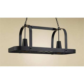 Hi-Lite H-32Y-D-BK01 Baker Black Leather Lighted Pot Rack