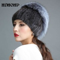 2017 New Fur Hat For Winter Women Genuine Mink Fur Hat With Silver Fox Fur Knitted Beanies Fashion Women Fur Caps