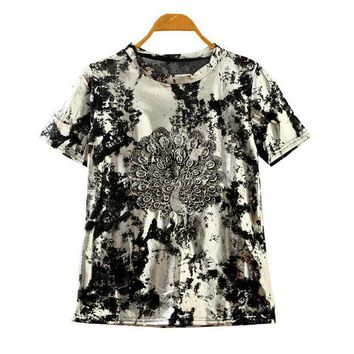 CREYUG3 Summer Korean Stylish Lace Embroidery Peacock Vintage Silver Short Sleeve T-shirts [4919412292]