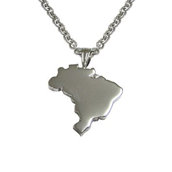 Brazil Map Shape Pendant Necklace