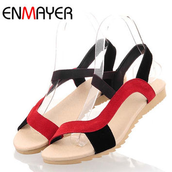 New Fashion Flats Heel Women Sandals Genuine Leather Sandal Ladies Mix Colors High Quality  Causal Shoes