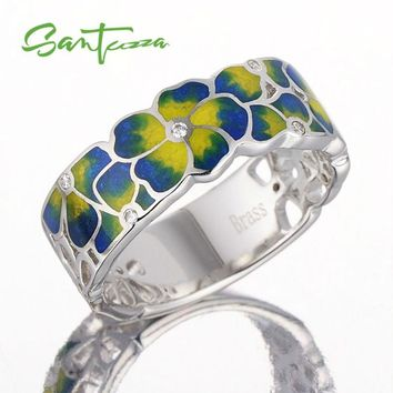 Rings for Woman Colorful Transparency Enamel Flower Ring Yellow Cubic Zirconia CZ Ring Party Fashion Jewelry HANDMADE