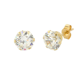 14k Yellow Gold 6 Prong Round Cubic Zirconia CZ Stud Earrings