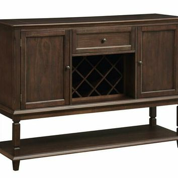 Parkins collection rustic espresso finish wood wine rack side server dining buffet console