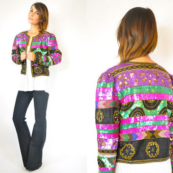 sequined & beaded 100% silk ART DECO cropped TROPHY jacket, extra small-small