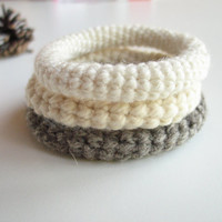 Wool Crochet Bracelet. Neutral Color Bangle. Minimalist Fashion Wool Jewelry. Pure Wool Bangles