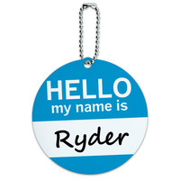 Ryder Hello My Name Is Round ID Card Luggage Tag