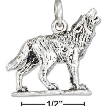 Sterling Silver Three Dimensional Howling Wolf Charm