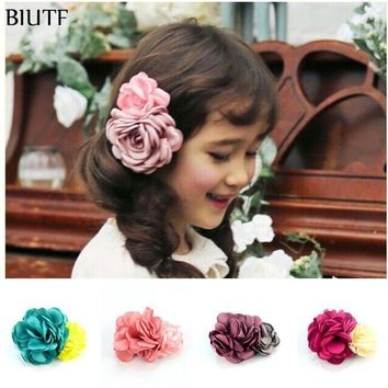PEAP78W 5pcs/lot Girl Hair Clips Vintage Burned Rose Flower WITH Clips Women Hair Dress Accesscories 10 Color for U Pick FC115