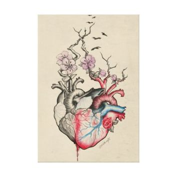 Love art merged anatomical hearts with flowers stretched canvas prints