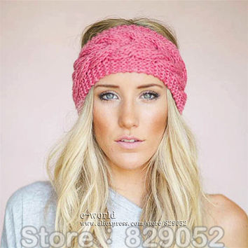 Wool Knitted Turban Headbands For Women Winter Warm Crochet Headband Head Wrap Wide Ear Warmer Hairband Girls Hair Accessories