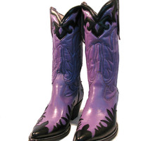 Vintage Cowboy Boots Womens Rancho Loco Purple and Black Leather Western Cowboy Boots Wms us size 7