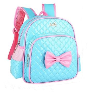 2017 Hot Sale fashion Children School Bags Bowknot Print Backpack Baby Toddler kids Book Bag Kindergarten Boy Backpacking#LREW