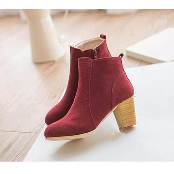 Autumn And Winter Short Cylinder Boots With High Heels Boots Shoes Martin Boots Women Ankle Boots With Thick Scrub#HDS213