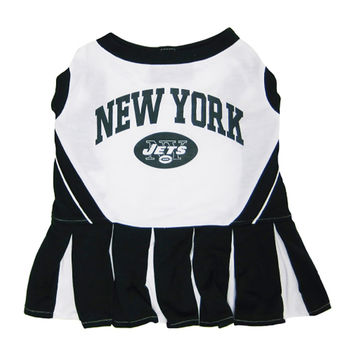 Mirage Pet Products Puppy Dog Cat Costume New York Jets Sports Team Logo Cheer Leading Uniform SM