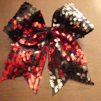 Four Tone Sequin Cheer Bow Reds and Silvers by isparklethat
