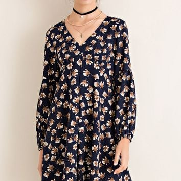 Floral Print Pocketed V-Neck Dress