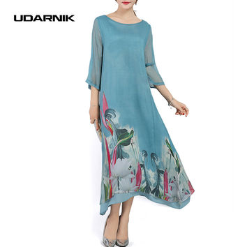 Womens Silk Layered Baggy Long Dress Ladies Chinese Style Vintage Ethnic Floral Casual Summer Wear Three Quarter Sleeves 903-861
