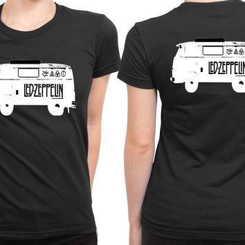 Led Zeppelin Bus Black And White 2 Sided Womens T Shirt