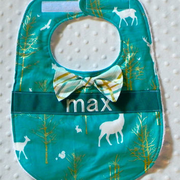 Personalized Bib with Matching Bow Tie - Baby Boy Teal and Glitz Metallic Gold Forest Deer and Plaid