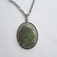 Moss Agate Pendant Necklace Silvertone Frame Gemstone Jewelry