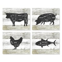 Butcher Chart, Cow, Pig, Chicken, Fish, Kitchen Art Print, Butcher Diagram, Rustic Decor, Set of 4 Prints, Faux Wood, Kitchen Wall Art