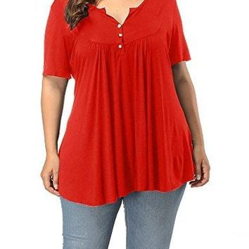 Allegrace Womens Plus Size Henley V Neck Button up Tunic Tops Casual Short Sleeve Ruffle Blouse Shirts