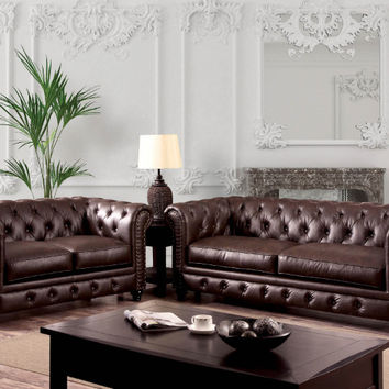Furniture of america CM6269BR 2 pc stanford brown leatherette sofa and love seat set with nail head trim