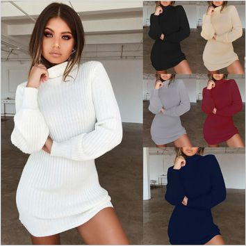 Autumn Winter Women Fashion High Collar Plus Size Loose Knitted Dress Casual Long-sleeved Slim Sexy Christmas Sweater Dress