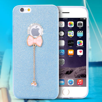 i6 6S/ Plus Rhinestone Pink Bow Knot Case for Apple iPhone 6 6S for iPhone 6 6S Plus Soft TPU Diamond Ultra Thin Cute Back Cover