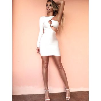 Chrissy white cut out bodycon dress