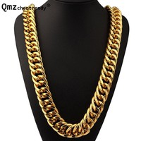 Exaggerated Long Chains Gold Silver Wide Heavy Cuban Necklace Hip Hop Extra-coarse Jewelry Hipster Men Women Joyas Tide Brand