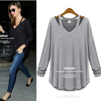 Summer Women's Fashion V-neck Cotton T-shirts Long Sleeve Pullover Tops Bottoming Shirt [6047548353]