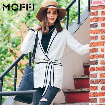 WFST New 2016 Autumn Winter Suit White Slim Blazers With Belt Thin Long Coats Color Block Long Sleeve MF166002