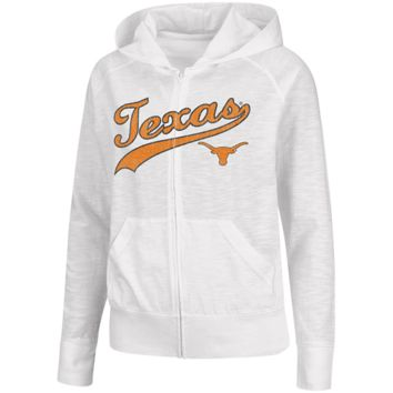 Texas Longhorns Ladies Twist Slub Full Zip Hoodie Jacket - White