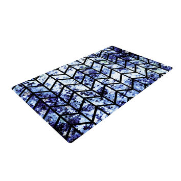 "Ebi Emporium ""Chevron Wonderland II"" Blue Black Woven Area Rug"