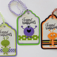 Handmade 3D Halloween Gift Tags, Treat Bag and/or Favors Set of 3