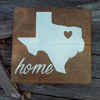 Texas Home Wood Sign 12x12, Texas Art