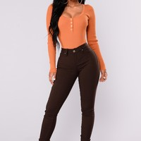 Hyperstretch Skinny Pants - Coffee