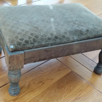 Vintage Rustic Wood Foot Stool With Brown Velvet Top Perfect for Decorating That Small Space