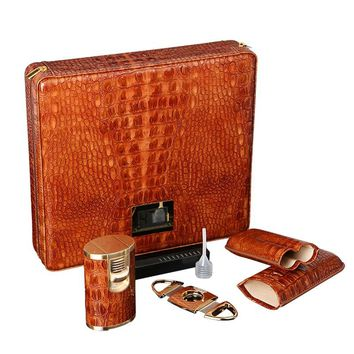 COHIBA Beautiful Brown Leather Croco Pattern Cedar Cigar Humidor Stainless Steel Cutter Lighter Case Set Electronic hygrometer