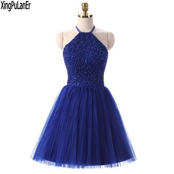 vestido de festa  A Line High Neck Keyhole Back Royal Blue Beaded Top Short Pageant Girls Prom Dresses  Homecoming Gowns