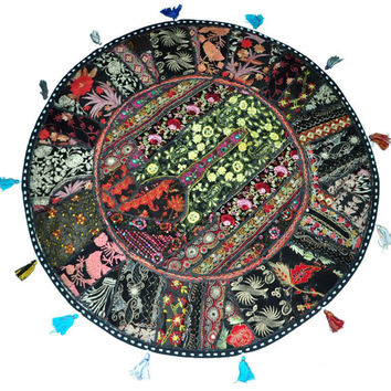 "Black 22"" Decorative Round Floor Pillow Cushion round embroidered Bohemian Patchwork floor cushion pouf Vintage Indian Foot Stool Bean Bag"