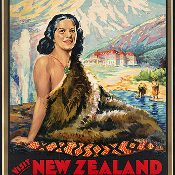 "c.1930s "" Visit New Zealand, Maori Wonderland"" Travel Poster-Antique-Old-Vintage Reproduction Photograph/Photo: Gicclee Print. Frame it!"