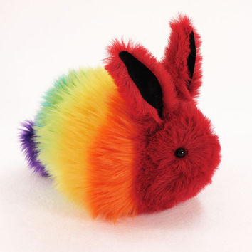 "Easter Bunny Stuffed Toy Faux Fur Plushie named ""Rainbow Rabbit"" - Large Size"