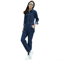 Women's casual loose jumpsuits Pockets denim cargo pants Vintage overalls Blue jeans