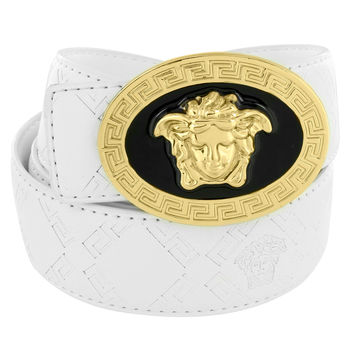 "Medusa Face Buckle Greek Design White Leather 46"" Belt Gold Tone"