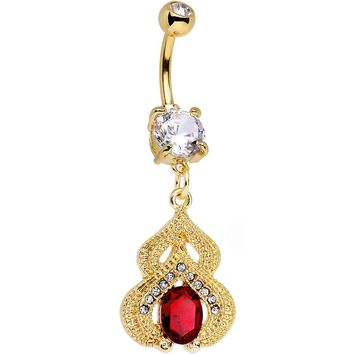 Clear Red Gem Gold PVD Fancy Delilah Dangle Belly Ring