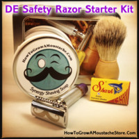 HowToGrowAMoustacheStore — DE Wet Shaving Starter Kit (Featuring Pollywog Razor)