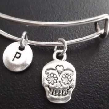 Sale.....Sugar skull bracelet, Stainless Steel Expandable Bangle, monogram personalized item No.668